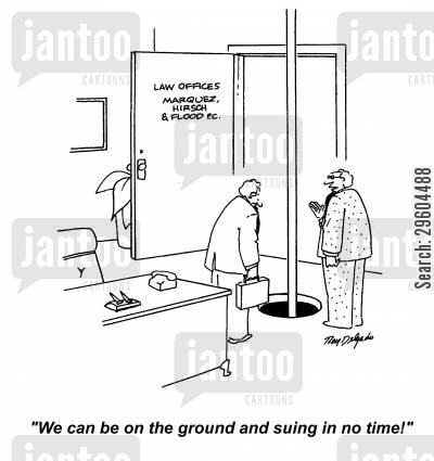 slides cartoon humor: 'We can be on the ground and suing in no time!'
