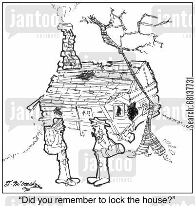 fixer upper cartoon humor: 'Did you remember to lock the house?'