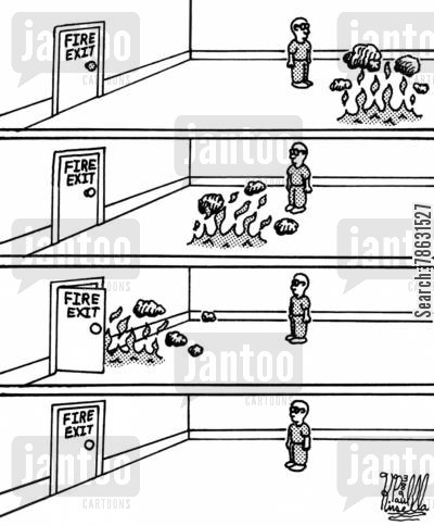 fireman cartoon humor: Fire Exit