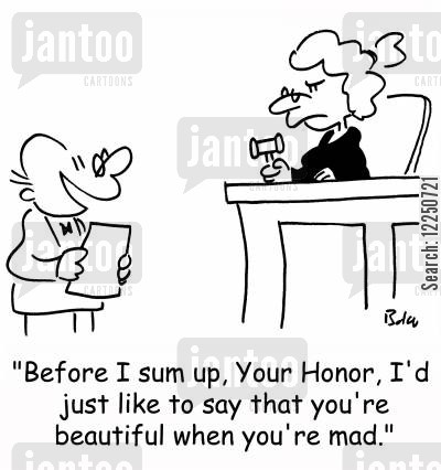 sum up cartoon humor: 'Before I sum up, Your Honor, I'd just like to say that you're beautiful when you're mad.'
