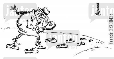 foot prints cartoon humor: Dectective following whole shoes rather than just the foot prints