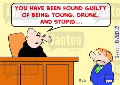 driving drunk cartoon humor: You have been found guilty of being young, drunk and stupid.