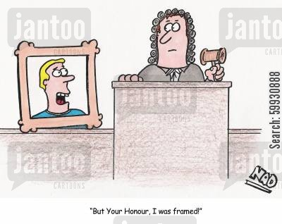 pleas cartoon humor: A man in a picture frame pleads with the judge - 'But Your Honour, I was framed!'