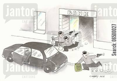 getaway car cartoon humor: Bank robbers stealing petrol for the getaway car.