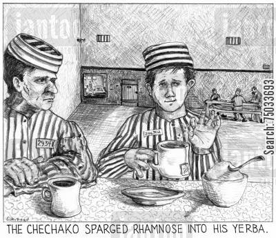 tea party cartoon humor: 'The chechako sparged rhamnose into his yerba.'