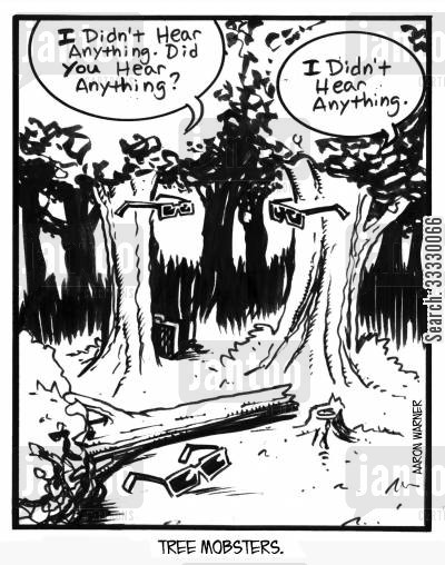 gangster cartoon humor: Tree Mobsters. 'I didn't hear anything. Did you hear anything?' 'I didn't hear anything.'