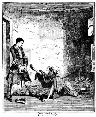 ainsworth cartoon humor: Jack Sheppard- Visiting his Mother in Bedlam