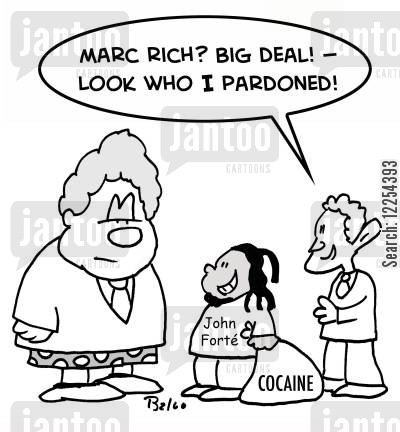 cocaine cartoon humor: John Forte, Cocaine: 'Marc Rich? Big deal! -- Look who I just pardoned!'