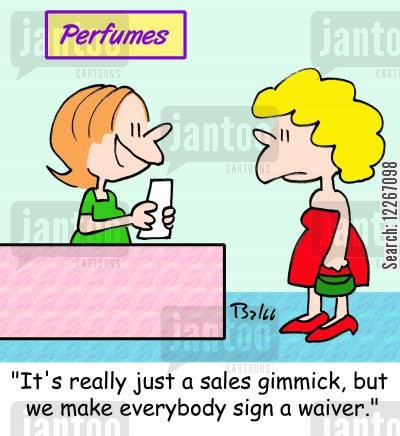 toilettes cartoon humor: PERFUMES, 'It's really just a sales gimmick, but we make everybody sign a waiver.'
