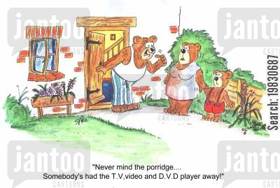 porridge cartoon humor: 'Never mind the porridge...Somebody's had the T.V,video and D.V.D player away!'