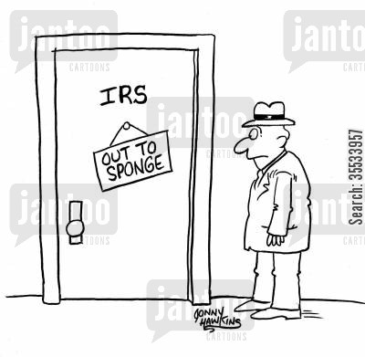 internal revenue service cartoon humor: Man sees IRS door sign: 'Out to Sponge'