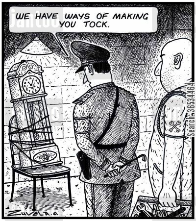 grandfather clock cartoon humor: Army Leader: 'We have ways of making you Tock.'