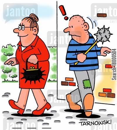 self defence cartoon humor: Old lady with a mace handbag.