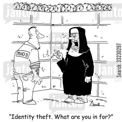 disguising cartoon humor: 'Identity theft. What are you in for?'