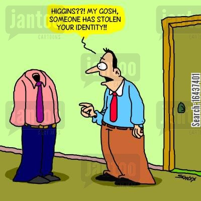 identity cards cartoon humor: 'Higgins??! My gosh, someone has stolen your identity!!