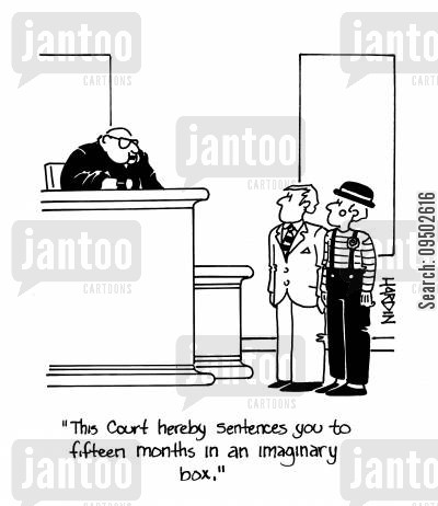 prison space cartoon humor: 'The court hereby sentences you to fifteen months in an imaginary box.'