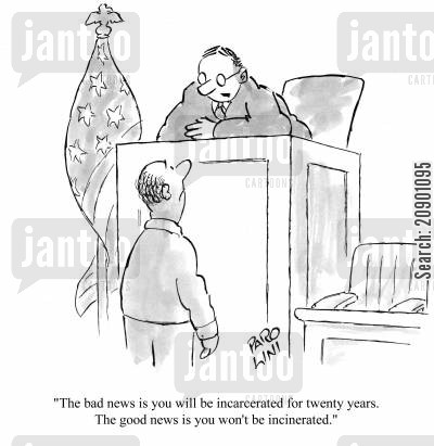 injustice cartoon humor: 'The bad news is you will be incarcerated for twenty years. The good news is you won't be incinerated.'