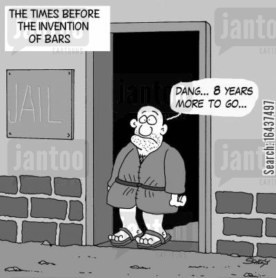 prison bar cartoon humor: The times before the invention of bars