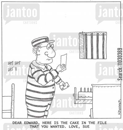 file cabinet cartoon humor: Dear Edward, here is the cake in the file that you wanted. Love, Sue.