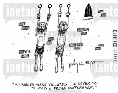 prison sentence cartoon humor: 'My rights were violated...I never got to hold a press conference.'