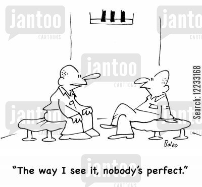 flaw cartoon humor: 'The way I see it, nobody's perfect.'