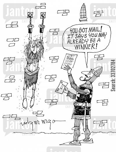spam mail cartoon humor: 'You got mail! It says you may already be a winner!'
