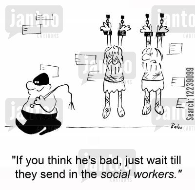 guard cartoon humor: 'If you think he's bad, just wait till they send in the social workers.'