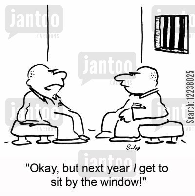 prisioners cartoon humor: Okay, but next year I get to sit by the window!