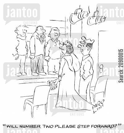line-up cartoon humor: 'Will Number Two please step forward?'