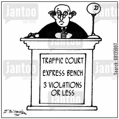 traffic law cartoon humor: At 'Traffic Court' there's an 'Express Bench, 3 Violations or Less.'