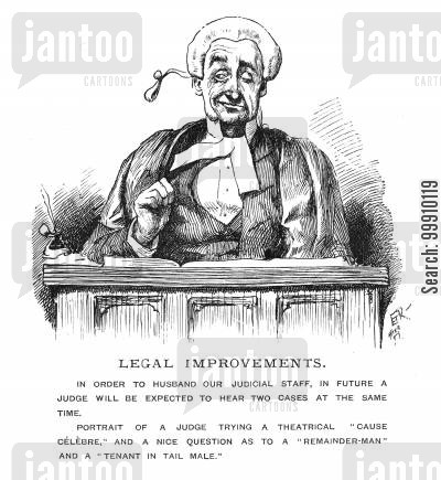 laws cartoon humor: Judge hearing two cases at once