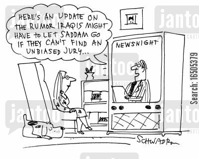trial by jury cartoon humor: 'Here's an update on the rumor Iraqis might have to let Saddam go if they can't find an unbiased jury...'