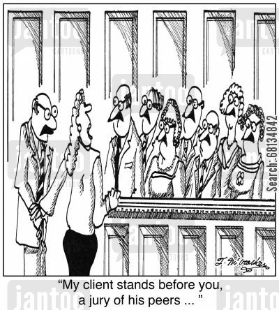 marx brothers cartoon humor: 'My client stands before you, a jury of his peers ... '