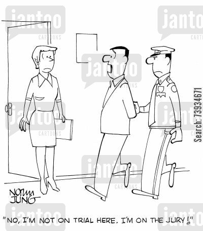 handcuff cartoon humor: 'No, I'm not on trial here. I'm on the jury!'