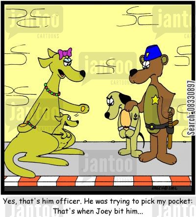 puches cartoon humor: Yes, that's him officer. He was trying to pick my pocket: That's when Joey bit him...