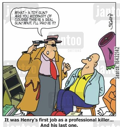hit men cartoon humor: 'It was Henry's first job as a professional killer... and his last one.'