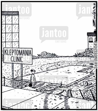 kleptomaniacs cartoon humor:  The Boss of the Kleptomania Clinic has turned up for work only to discover his Clinic has been stolen