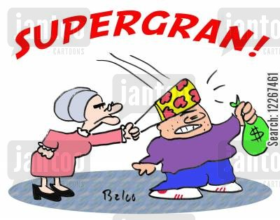 jewellery theft cartoon humor: SUPERGRAN!