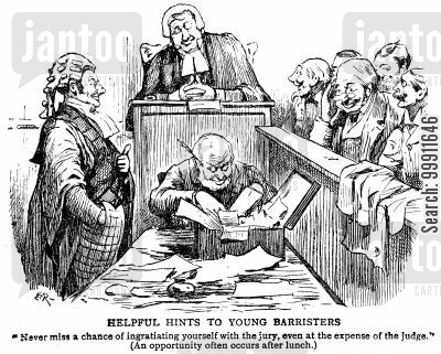 asleep cartoon humor: Barrister pointing out dozing judge to the jury