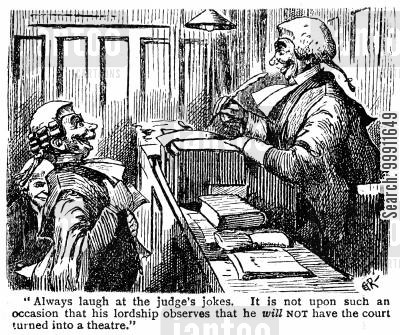 solicitors cartoon humor: Barrister laughing at the judge's jokes