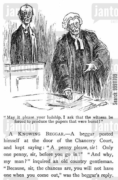 destroyed cartoon humor: Barrister asking a witness to produce burnt papers