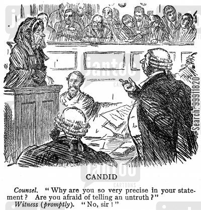 witness box cartoon humor: Counsel examining witness