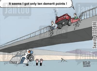traffic accident cartoon humor: 'It seems I got only ten demerit points.'