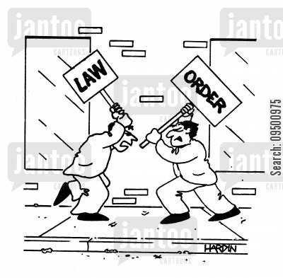 on the streets cartoon humor: Two men fight with Law and Order signs.
