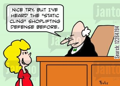 cling cartoon humor: 'Nice try, but I've heard the 'static cling' shoplifting defense before.'