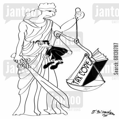 tax code cartoon humor: Lady Justice with an eye peeking from under her blindfold holds scales where a humongous book, 'The Tax Code' weighs more than a man.