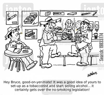tobacco shop cartoon humor: 'Hey Bruce, good-on-yer-mate! It was a good idea of yours to set-up as a tobacconist and start selling alcohol... it certainly gets over the no-smoking legislation!'