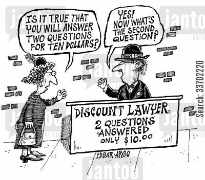 inquiry cartoon humor: Discount Lawyer 2 Questions Answered Only $10.00
