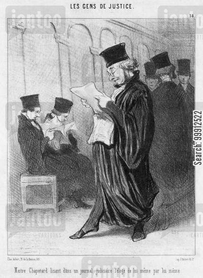 journal cartoon humor: Lawyers - Counsel Chapotard reading in a Law Journal an article by himself praising himself