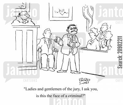 black eye cartoon humor: 'Ladies and gentlemen of the jury, I ask you,is this the face of a criminal?'